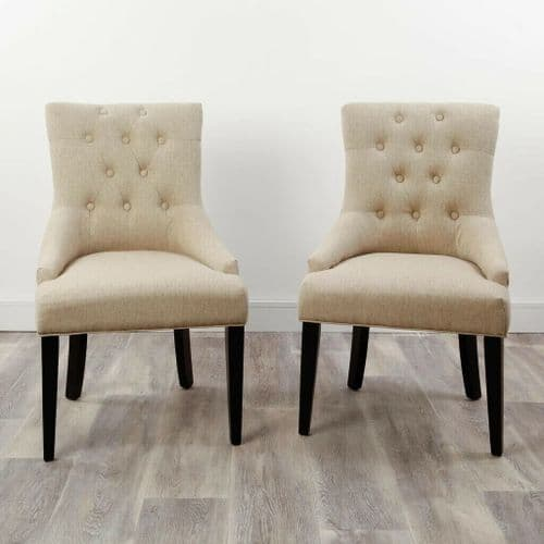 SET OF 2 TIMELESS BEIGE CREAM BUTTON BACK UPHOLSTERED WINGED DINING CHAIRS